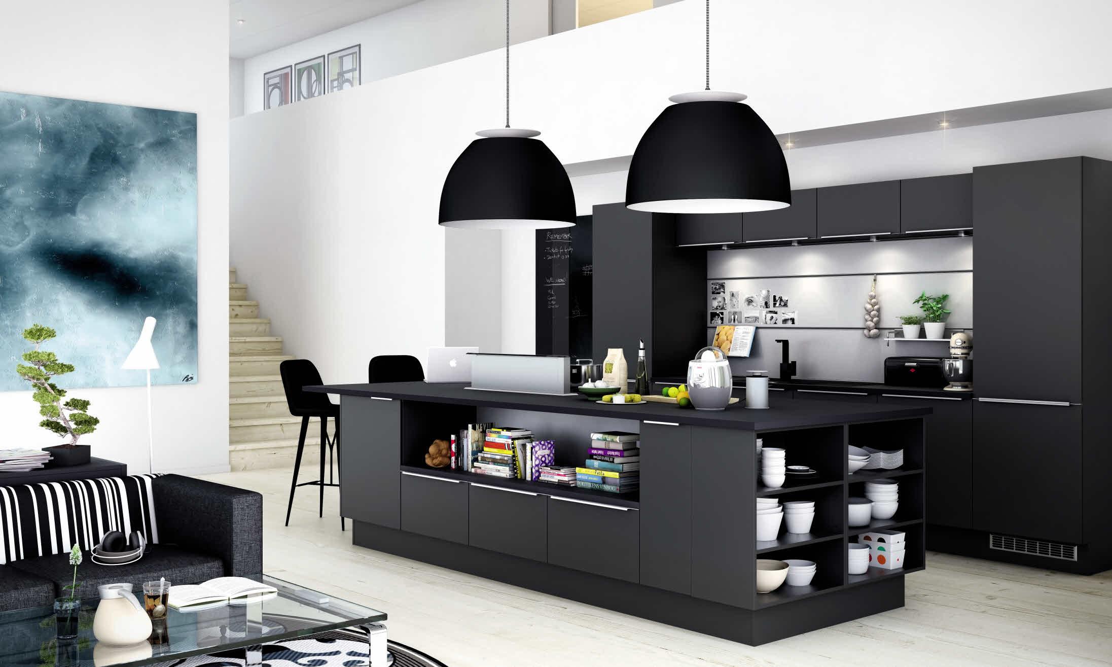 Kauniiksi ja toimivaksi suunniteltu moderni keittiö