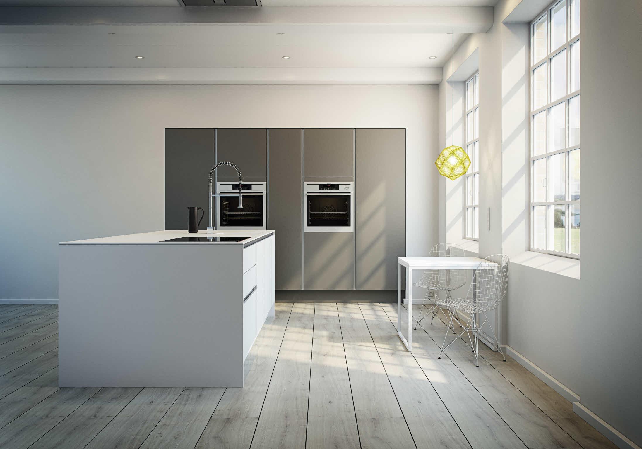Uusajattelua edustava keittiö, jossa yhdistyvät sekä valkoiset että tummat pi