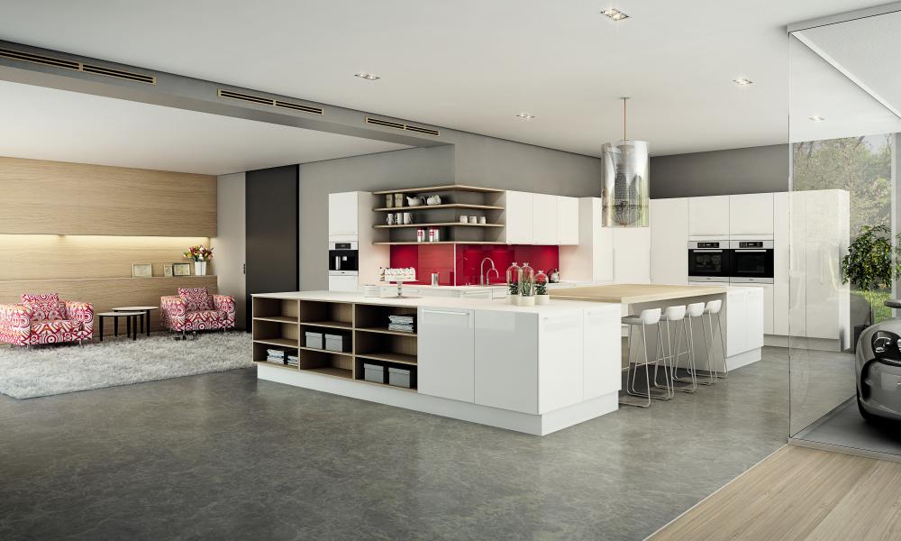 Valkoinen, kiiltävä keittiö kauniine yksityiskohtineen