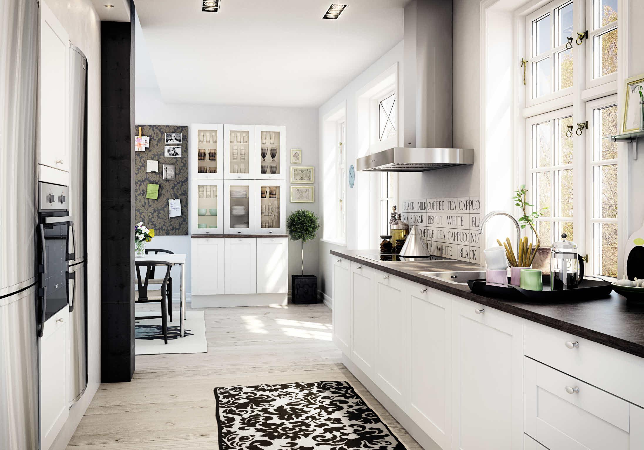 Romanttinen keittiö yksinkertaisine ja tyylikkäine yksityiskohtineen